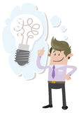 Business Buddy has a bright idea. Illustration of Business Buddy with a large light bulb indicating he has a bright idea Royalty Free Stock Images