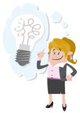 Businesswoman Buddy has a bright idea. Illustration of Business Buddy with a large light bulb indicating she has a bright idea Stock Images