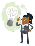 Businesswoman Buddy has a bright idea. Royalty Free Stock Images