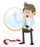 Business Buddy spies a clue. Illustration of Business Buddy with a large magnifying glass searching for a clue stock illustration