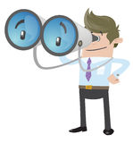 Business Buddy with his huge binoculars Royalty Free Stock Images