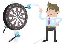 Business Buddy misses the Target. Illustration of Business Buddy missing the target with his huge darts on the dartboard stock illustration