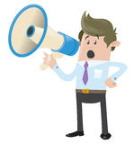 Business Buddy with Loudspeaker. Illustration of a Business Buddy who likes to communicate through the subtle medium of a loudspeaker royalty free illustration