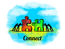 Illustration.Business concept of teamwork with jigsaw puzzle. Connect Stock Photography