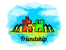 Illustration.Business concept of teamwork with jigsaw puzzle. Friendship Stock Image