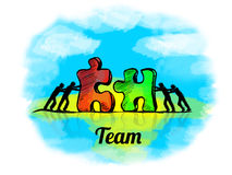 Illustration.Business concept of teamwork with jigsaw puzzle.  Team Stock Photo