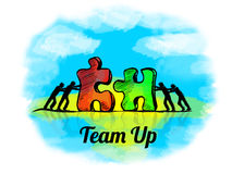 Illustration.Business concept of teamwork with jigsaw puzzle. Team up Royalty Free Stock Photo