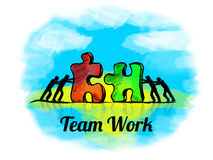 Illustration.Business concept of teamwork with jigsaw puzzle. Team Work Royalty Free Stock Photo