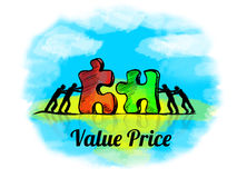 Illustration.Business concept of teamwork with jigsaw puzzle. Value Price Stock Images