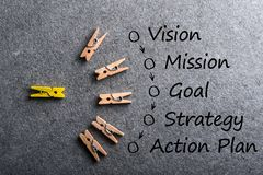 Illustration of business concept vision - mission - strategy - action plan on dark background with many colored pins stock image