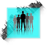 Illustration of business group with city skyline i Royalty Free Stock Photo