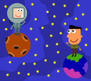Friend from a distance. Illustration of a business man on Earth waving his hands on an astronaut on the moon Royalty Free Stock Photos
