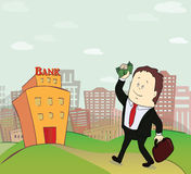 Illustration of business man going to bank Stock Image
