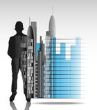 Illustration of business man with office skyline and chart isolated Royalty Free Stock Photography