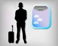 Illustration of business man with plane window Royalty Free Stock Photo