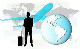 Illustration of business man travelling by plane Stock Photos