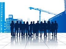 Illustration of business people and buildings Royalty Free Stock Images