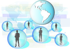 Illustration of business people connected in network with globe Stock Images