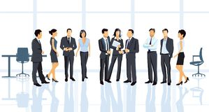 Business meeting in office. An illustration of business people in an office during a meeting, negotiation or agreement on a deal Stock Image