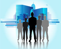 Illustration of business people with skyline Royalty Free Stock Images