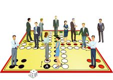 Business professionals on game board Royalty Free Stock Photos