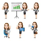 Set of Business Woman Character in 6 Different Poses. Illustration of business woman in 6 different poses. High resolution JPG, PNG transparent background and AI Royalty Free Stock Photography