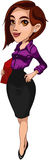 Illustration. Business woman, office lady, clerk Royalty Free Stock Image