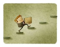 Businessman with a box is climbing a few steps. concept of rise to success Royalty Free Stock Image