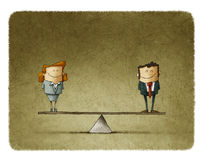 Illustration businessman and businesswoman on balance Royalty Free Stock Images