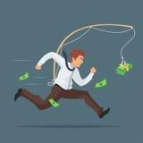 illustration of businessman chasing after money. royalty free illustration