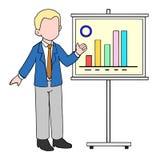 Illustration of Businessman doing Presentation with graphic charts. Cartoon of Businessman doing presantation with graphic charts Royalty Free Stock Photos