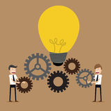 Illustration of businessman with gears, team work, Royalty Free Stock Photography