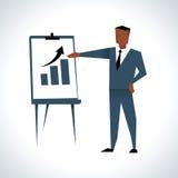 Illustration Of Businessman Giving Presentation At Flipchart royalty free illustration
