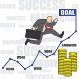 Illustration of businessman goes to success because of the hardwork Royalty Free Stock Photos