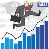 Illustration of businessman goes to success because of the hardwork Stock Images