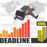 Illustration of businessman goes to success because of the hardwork Royalty Free Stock Images