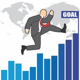 Illustration of businessman goes to success because of the hardwork Stock Photography