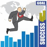 Illustration of businessman goes to success because of the hardwork Royalty Free Stock Image