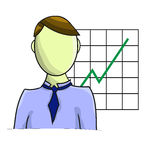 Illustration of businessman with graph isolated Royalty Free Stock Photos