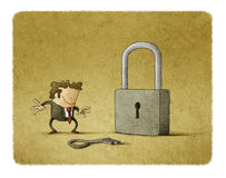 Illustration of businessman with a key and a padlock Royalty Free Stock Photo