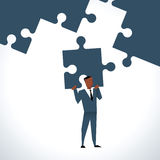 Illustration Of Businessman With Last Piece Of Jigsaw Puzzle Stock Illustration