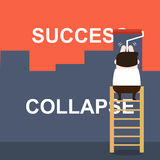 Illustration of businessman painting the success on the collapse wall Royalty Free Stock Photo