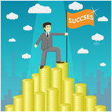 Illustration of businessman proudly standing on the huge money staircase. Vector illustration of businessman proudly standing on the huge money staircase. Flat Stock Photo