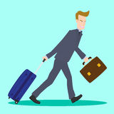 Illustration of businessman pulling travel bag suitcase and briefcase Royalty Free Stock Photo
