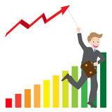 Illustration of businessman running with business arrow wave kite on chart  Stock Photos