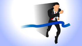 Illustration of a businessman running past the finish line. Eps 10 royalty free illustration