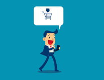 Illustration of businessman sale and buy using application. On smart phone. Concept business vector Stock Photos