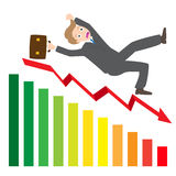 Illustration of a businessman Slipping Down a statistic arrow  Stock Image
