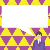 Illustration of Businessman Smiling and Talking with Blank Rectangular Speech Bubble. Creative Background Idea for. Businessman Smiling and Talking with Blank royalty free illustration