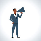 Illustration Of Businessman Speaking Through Megaphone Royalty Free Stock Photo